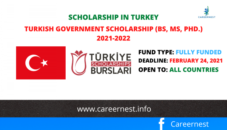Turkish Government Scholarship (BS, MS, Ph.D.) 2021-2022