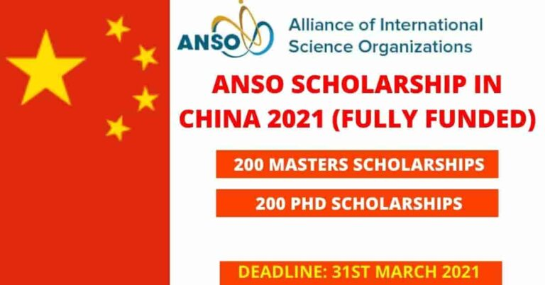 ANSO Scholarship in China 2021 | Fully Funded | 500 Scholarships